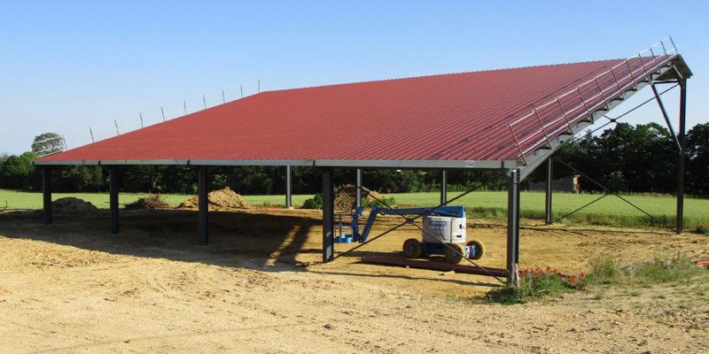 Versant Sud du hangar agricole photovoltaïque Albioma / bât.2 Charpey (26)
